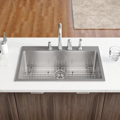 Rene 31 125 In X 20 In Stainless Steel Single Bowl Drop In 4 Hole Commercial Residential Kitchen Sink Lowes Com Sink Drop In Kitchen Sink Stainless Steel Kitchen Sink