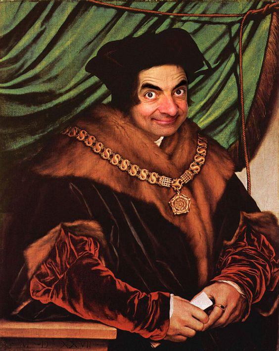 O ilustrador Rodney Pike tem um vasto portfólio de caricaturas inspiradas em celebridades, mas é nesta série, na qual ele incorpora o rosto de Mr. Bean em quadros históricos, que ele mostra toda a sua habilidade em manipular fotos.