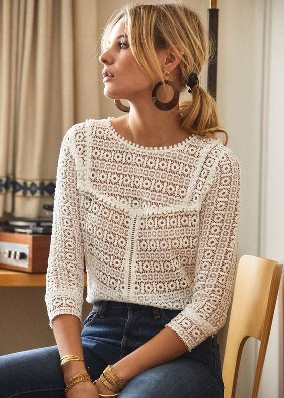 Lovely detailed white top + wooden earings + blue denim. sézane / joss blouse