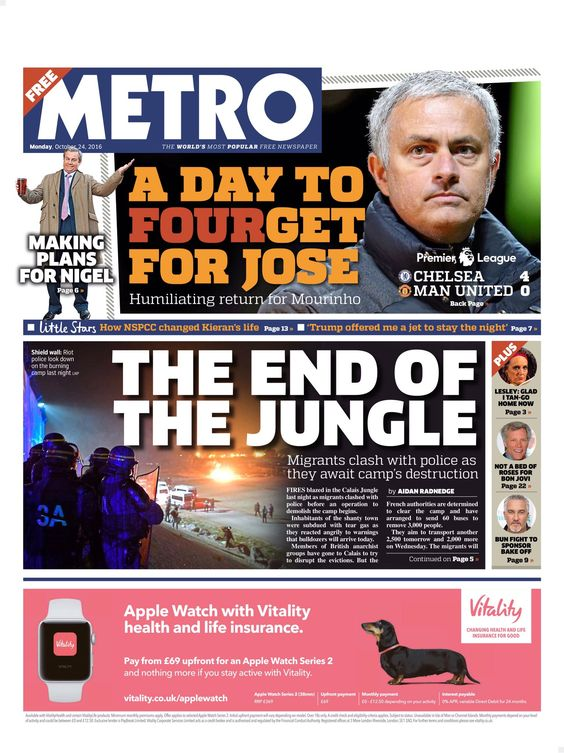 Monday's Metro front page: The end of the Jungle #tomorrowspaperstoday #bbcpapers https://t.co/7K794BXSkI