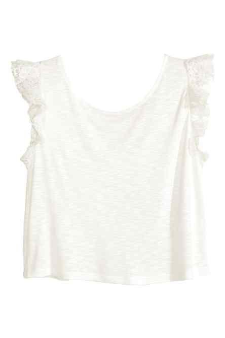 Camiseta con mangas de encaje