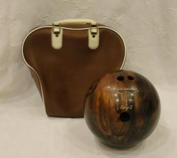 Vintage Ebonite Gyrobalanced Bowling Ball Brown 10 Pounds by tjcvintage for $30.00