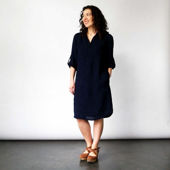 shirt dress in indigo linen + nuthatch + velouria + seattle 5.jpg