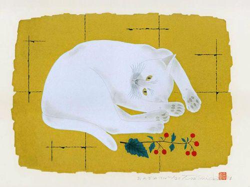 Tadashige Nishida, White Cat print