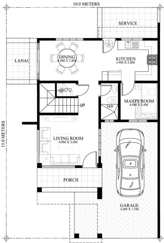 house plan with roof deck and firewall House design Pinterest