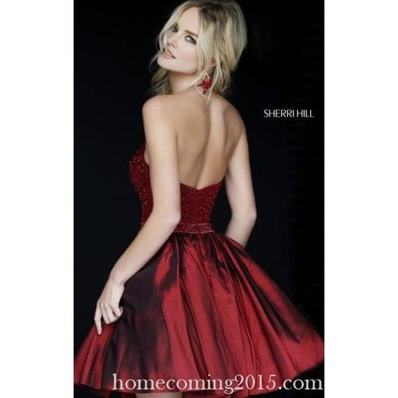 Dark Red Sherri Hill 32322 Homecoming Dress Beads 2015 ($275) ❤ liked on Polyvore featuring dresses, sherri hill dresses, cocktail homecoming dresses, dark red dress, beaded cocktail dress and homecoming dresses