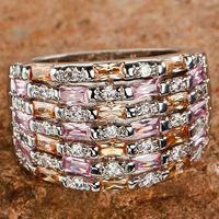 Envío gratis Multi Stones 925 anillo de plata talla 10 Dazzling Emerald Cut nueva joyería de moda para mujeres venta al por mayor