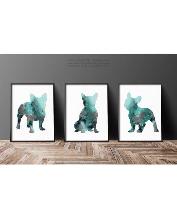 Französische Bulldogge Dekor 3er Set von ColorWatercolor auf Etsy