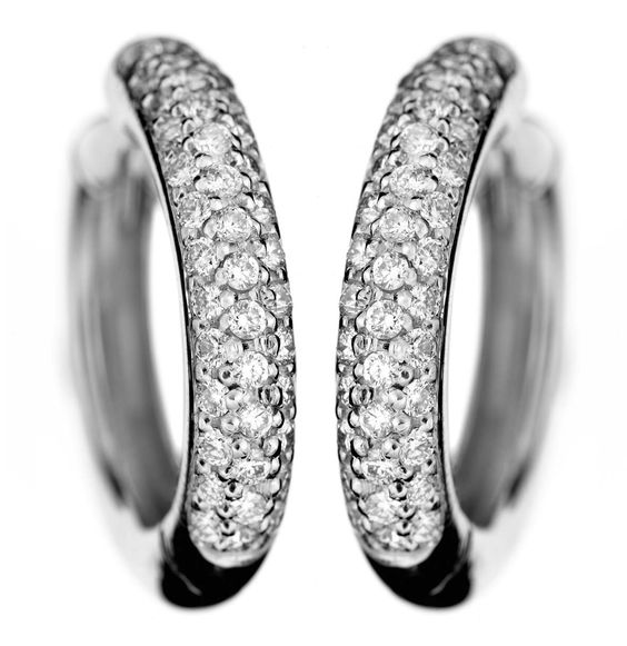 9173. 18k white gold creole earrings with brilliant cut diamonds. $3790