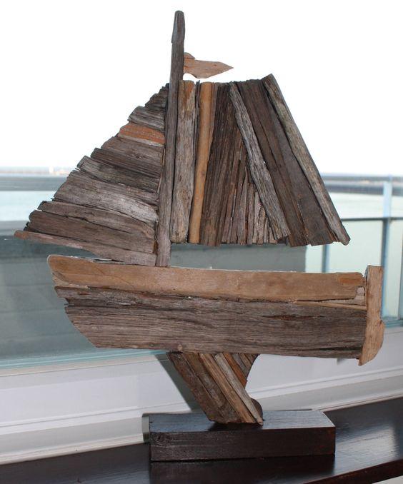 Vintage Driftwood Sailing Boat