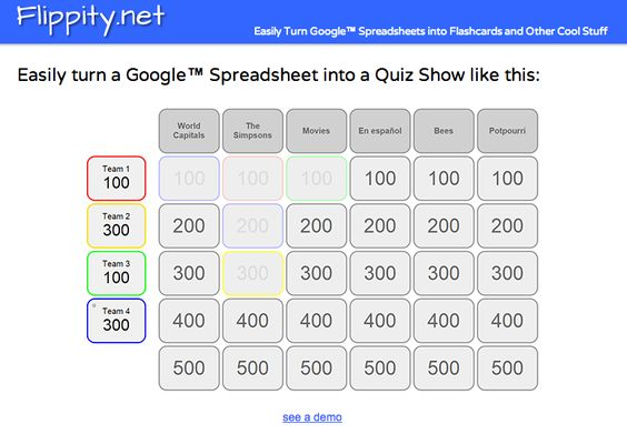 Flippitynet Easily Turn Google Spreadsheets into Online Flashcards - google spreadsheets