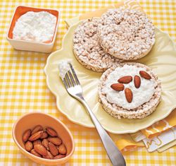 Recipes for a gluten free day. I tried the rice cakes with cottage cheese and almond butter instead of almonds...so tasty.