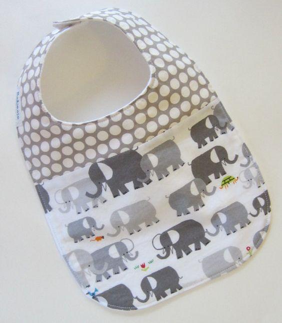 ORGANIC Baby Bib  Elephants Spot On / Babiease Baby by Babiease, $12.00