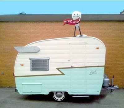 Most of us use our vintage trailers (or any trailer, rv or camper for that matter) mainly for camping. But there are folks that are finding unique ways of using their vintage trailers for more than just camping. For example; you have the cute little Shasta Compact that is a mobile snow cone stand called Fresher Than Fresh. How cute is that?! #caravan