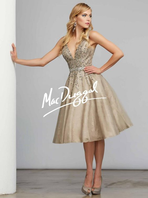 Taupe Tea Length Dress - Cocktail Dress - Mac Duggal 82098D ...