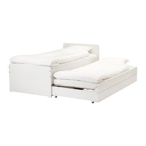 Slakt Bed Frame W Pull Out Bed Storage White Twin Ikea Bed