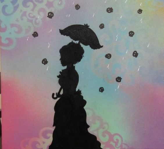 Woman Silhouette Canvas | Silhouette painting of a woman walking in the rain. Raining skulls ...