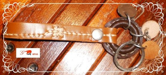 handmade tan brown hand stitched leather key ring by G2Pleather, $9.99