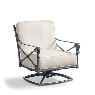 Campaign Swivel Lounge Chair with Cushions
