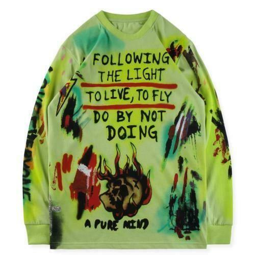 NEW Wes Lang Graffiti Tee Kanye West Tour T-Shirt Long Sleeved Shirt Size S-XL