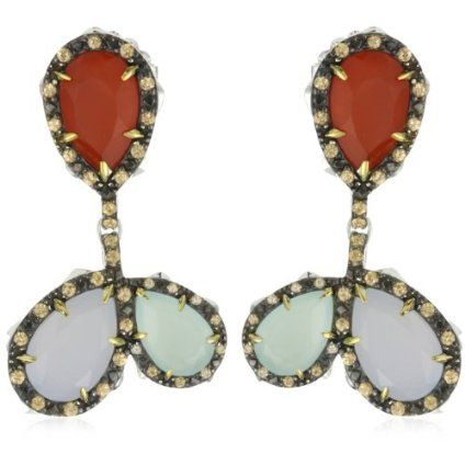 Elizabeth and James Thorns Sterling Silver with Tri-Color Stones Drop Earrings