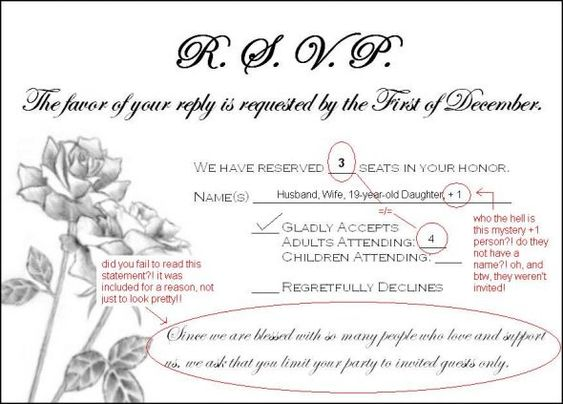 need wording help addressing guests who rsvpd for extra people – Wording for Wedding Rsvp Cards