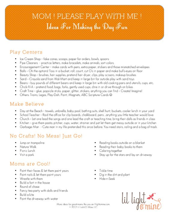 Quick ideas for PLAYING with your kids. Simple fun when you're out of ideas and all are bored. Fantastic list of ideas!