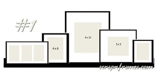 sur une étagère courte (55cm) placez les plus grands cadres plutôt au centre en diminuant la taille de ceux-ci en se rapprochant des bords. Disposez un nombre impair d'encadrements.