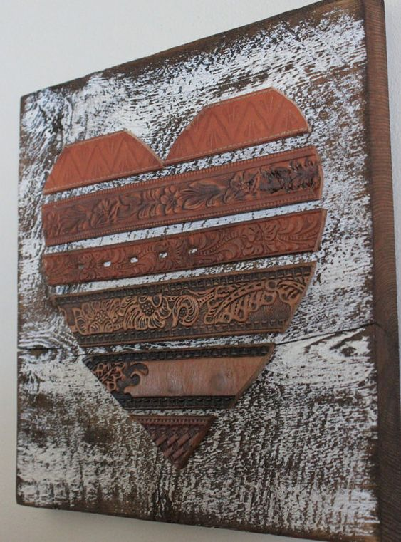 Rustic Leather Heart Wall Art by BeyondAPicketFence on Etsy, $32.00