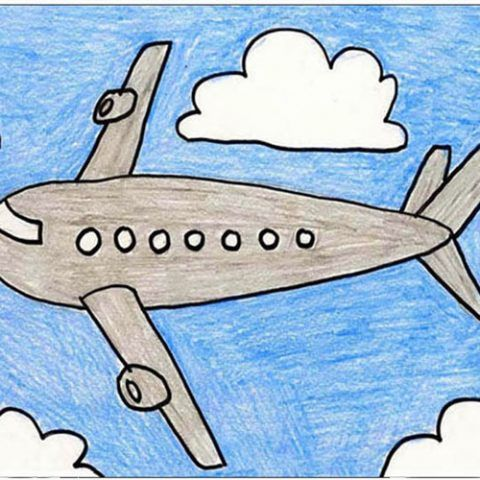 Plane Drawing For Kids Airplane Art Scenery Drawing For Kids
