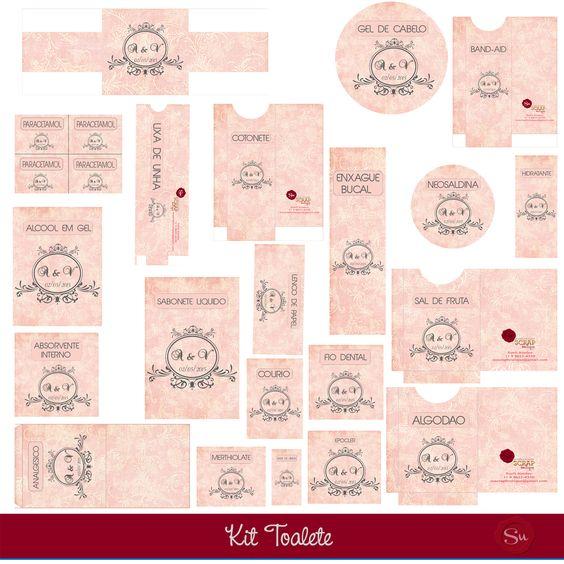 Kit Banheiro Casamento Floral : Todos os itens para compor o kit toalete etiqueta