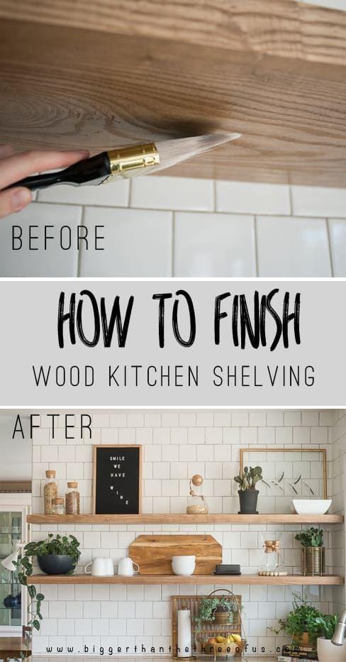 Diy Open Shelving Kitchen Guide Bigger Than The Three Of Us Wood Shelves Kitchen Open Kitchen Shelves Wood Kitchen