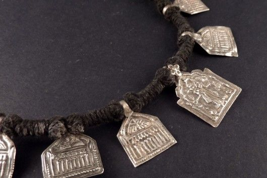 Indian silver old hindu amulets necklace