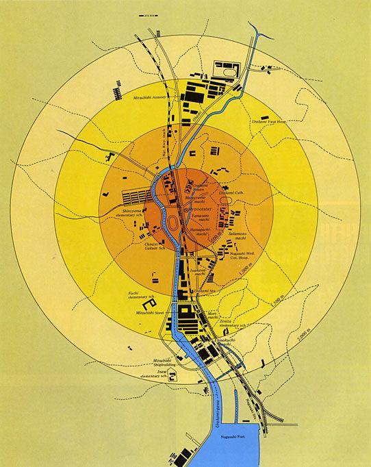 bombing of hiroshima and nagasaki map