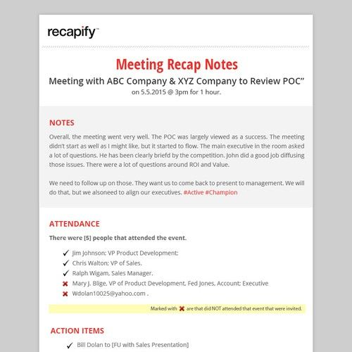 Recap Notes Email Pdf Template Project Email Contest Design Email