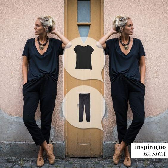 Um look all black, todo confortável... Estamos apaixonadas! #mybasiclook #calçachile #tshirtnewyork