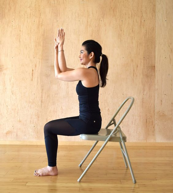 Garudasana on Chair (Eagle Pose)