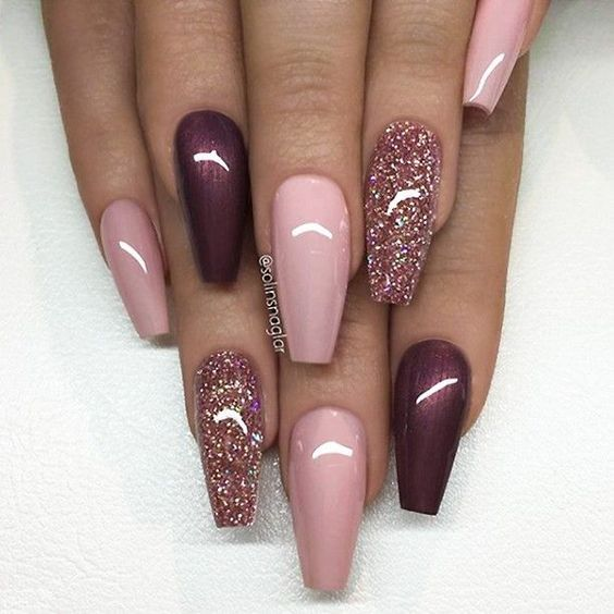 Burgundy Coffin Nails With Glitter