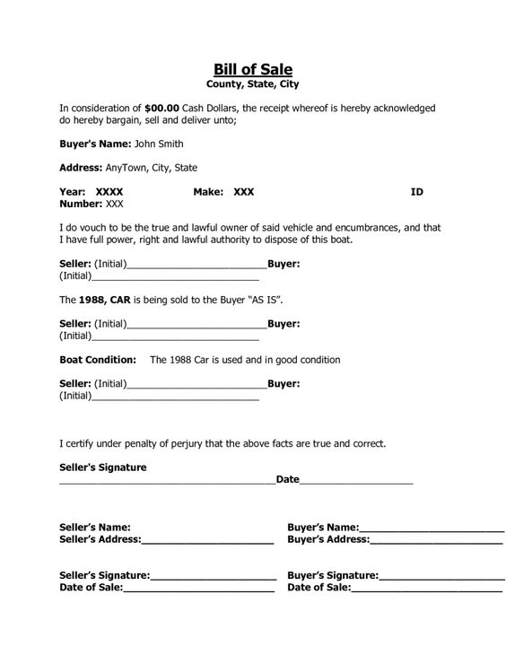 Printable Sample Letter of Resignation Form resignation letter - boat bill of sale
