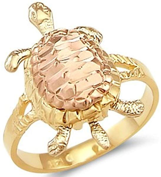 Solid 14k Yellow Gold Turtle Ladies Ring