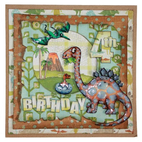CS126D 'Dinosaurs' Clear set contains 12 stamps. Stamp set designed by Sharon Bennett. Card by Sally Dodger:
