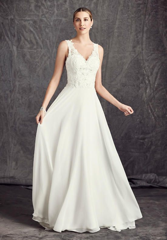 A-line silhouette with v-neck neckline and natural waist style | Kenneth Winston: Ella Rosa Collection | https://www.theknot.com/fashion/be288-kenneth-winston-ella-rosa-collection-wedding-dress