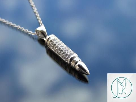 Michaels uk jewellery sterling silver bullet pendant necklaces sterling silver 925 bullet pendant necklace with cubic zirconia michaelaukjewelry 1 mozeypictures Images