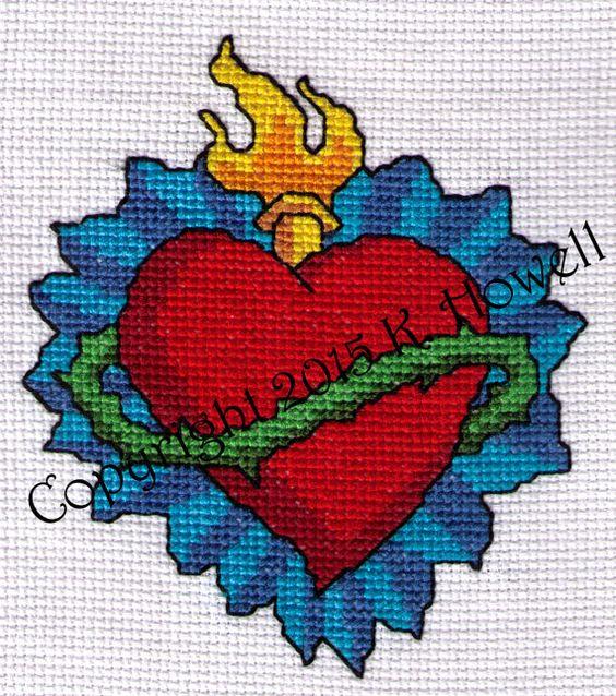 Heart cross stitch pattern sacred vine thorns