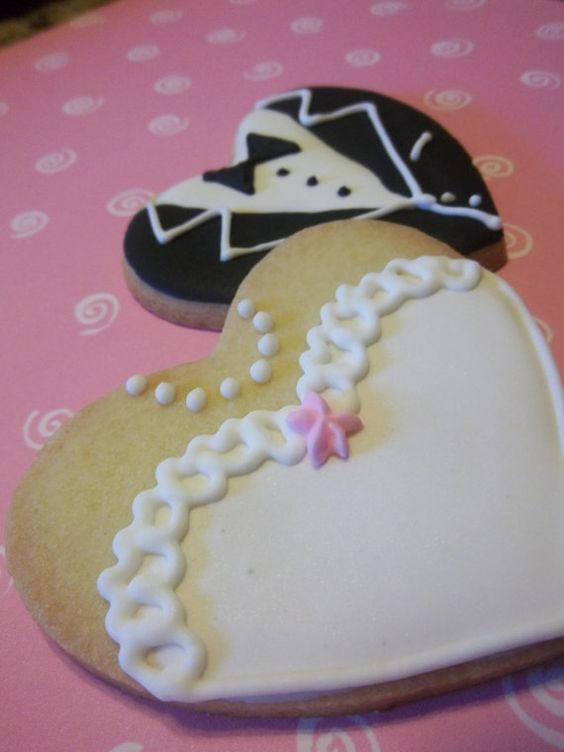 Bride and Groom Wedding Heart Cookie Favors 1 doz by AngeLfood, $25.95