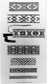 Sverige. Litteratur - Elgstrøm, Ossian: Karesuandolapparna (1912-16). HUSFLID -tekstil. Hushold - veving. s. 240a. 'Olika bandmönster. /Fotoportalen UNIMUS