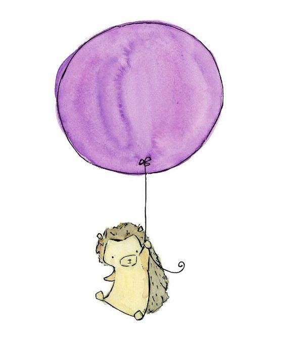 baby nursery art ---My Lavender Balloon--8x10 Archival Art Print. $20.00, via Etsy.
