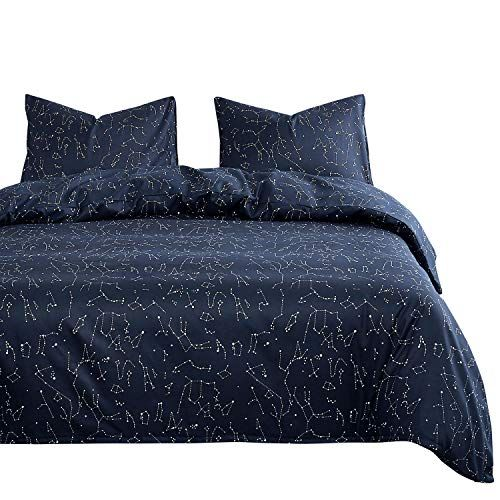 Wake In Cloud Constellation Comforter Set Navy Blue With White Space Stars Pattern Printed Microfiber Bedding Comforter Sets Duvet Cover Sets
