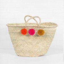 Pom Pom Basket Orange, Pink and Yellow