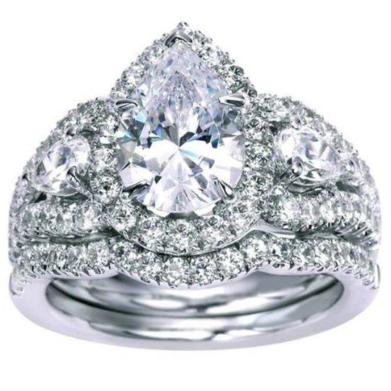 "Ben Garelick 14K White Gold Royal Celebrations ""Aurora"" Pear Shaped Halo Diamond Engagement Ring. Style ER5785W44JJ"